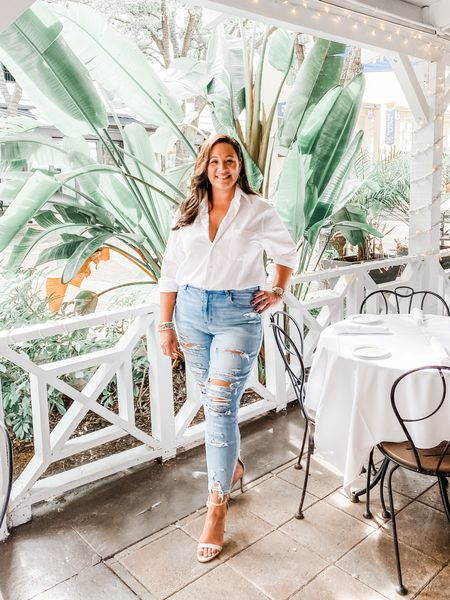 Wearing a L in the distressed jeans. Wearing my husbands dress shirt in a L, but I linked another slim-fit dress shirt. http://liketk.it/2TjCr #liketkit @liketoknow.it #LTKstyletip #LTKcurves #LTKunder100