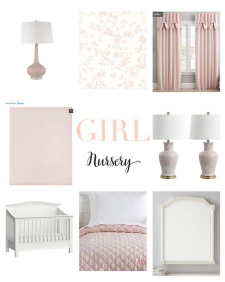 Girl nursery Baby girl Pottery barn kids Kids room Wallpaper Floral wallpaper Pink rug Pink nursery Lamps Mirrors Maternity  http://liketk.it/3dV21 #liketkit @liketoknow.it #LTKhome #LTKbaby #LTKbump