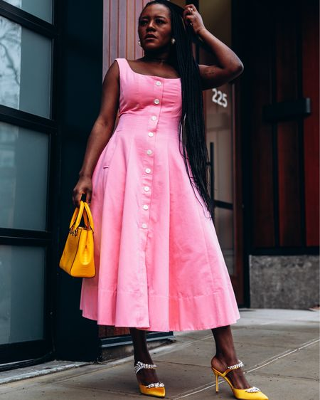Hello Spring Season. This gorgeous Staud dress is the perfect spring and summer dress. You can instantly shop all of my looks by following me on the @liketoknow.it hopping app or here 👉🏿 http://liketk.it/39zjO #liketkit #LTKcurves #LTKwedding #LTKstyletip   Spring dress, vacation outfits, Easter, Wedding guest dresses, spring outfit, spring fashion, business casual, summer dress, baby shower dress, summer fashion, summer dress, date night outfits