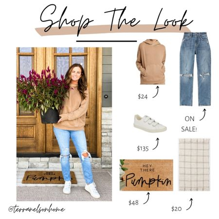 Wearing a small in the hoodie. Size 28 in the jeans. Love the layered look of the plaid rug and hey there pumpkin rug   #LTKhome #LTKSeasonal #LTKstyletip
