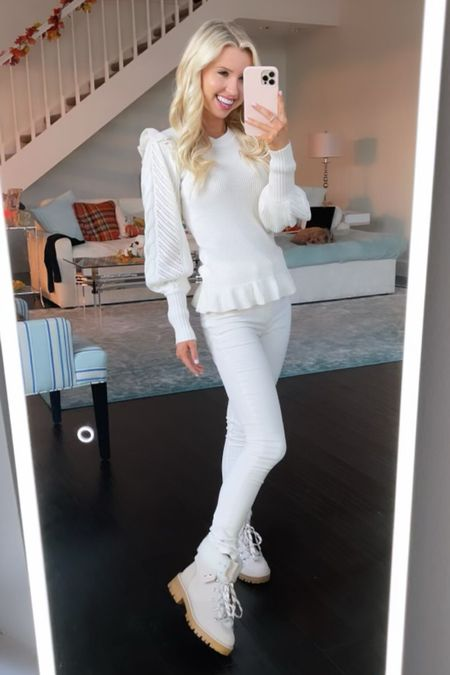 Loving this all white look from @walmartfashion ! #ad The sleeves on this sweater are to die for, you guys! Looks so expensive & pairs so cute with my Walmart jeans and boots! #walmartfashion   #LTKSeasonal #LTKworkwear #LTKunder50