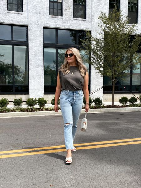 Easy casual outfit ❤️  . . . Follow me on the LIKEtoKNOW.it shopping app to get the product details for this look and others   http://liketk.it/3fxgl #liketkit @liketoknow.it #LTKstyletip #LTKcurves #LTKunder100  Padded shoulder tank, mom jeans, straight leg jean, light blue Jean, ivory sandals, American eagle, Anthropologie, shein, h&m