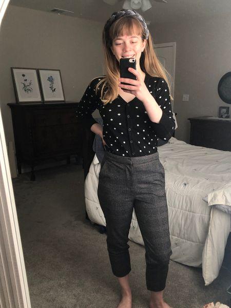 Polka dot cardigan and cropped plaid gray pants   #LTKunder50 #LTKsalealert #LTKFall