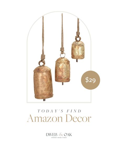 Loving this 3-Piece Metal Rope Cow Bell Set from Amazon, only $29! An affordable way to upgrade your space #amazonhome #amazonfinds #homedecor  #LTKunder100 #LTKhome #LTKunder50