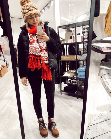http://liketk.it/2I3iy @liketoknow.it #liketkit #LTKholidaystyle #LTKunder100 #LTKshoecrush shearling boots, winter outfits, puffer vest, north face fleece jacket, snow boots, knit beanie, Abercrombie, red scarf, Old Navy, sale, Spanx leggings