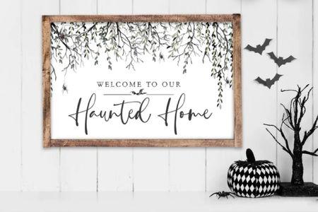 HAUNTED HOME WELCOME SIGN  HALLOWEEN DECOR HOME     #LTKhome #LTKunder50 #LTKSeasonal