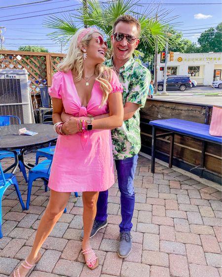 Buddy love pink dress size L Men's palm print button up shirt size M Pink aviator sunglasses  Pink studded sunglasses  Budha girl bracelet stacks rose gold and white White statement earrings very lightweight  Summer dress, vacation dress, http://liketk.it/3hmme #liketkit @liketoknow.it #LTKDay #LTKsalealert #LTKmens