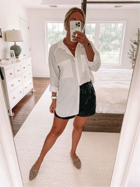 Classic white button down shirt with leather shorts - love this look for fall style!   #LTKstyletip #LTKunder50 #LTKsalealert