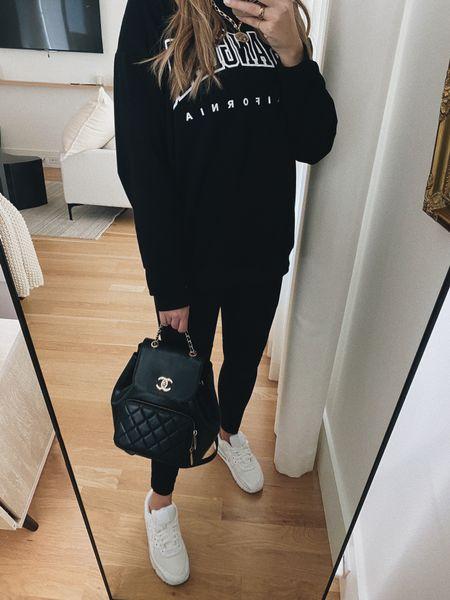 Oversized sweatshirt and spanx leggings #weekendootd #fall  #LTKSeasonal