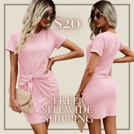 Tie front round neck dress from Shein and free sitewide shipping today   http://liketk.it/3hZNh #liketkit @liketoknow.it #LTKunder50 #LTKstyletip You can instantly shop my looks by following me on the LIKEtoKNOW.it shopping app