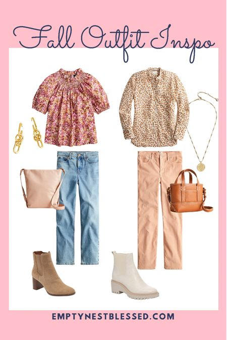 Fall outfits, fall date night, fall shoes, fall boots, booties, JCrew, J.Crew, handbags, purses, brown white booties, coin necklace, gold dangle earrings, nude purse, brown mini purse, micro bag, mini bag, corduroy pants, straight leg jeans, slim pants  🧡 Do you need some fall outfit inspiration for date night or work outfits!?  These fall styles from J.Crew are so cute!   #LTKworkwear #LTKSeasonal #LTKstyletip