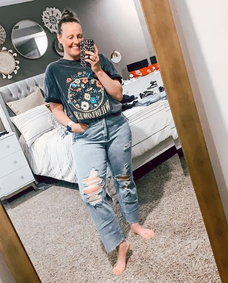 Target's new denim + tees for fall are my jam! I typically size up 1-2 sizes in their pants and 1 size in their tees for a looser fit! . . . . . . Target style // Target fashion // Target finds // Target denim // Target jeans // jeans // 90s denim // 90s jeans // mom jeans // distressed denim // distressed jeans // destroyed denim // destroyed jeans // body tee // graphic tees // basic tee // universal thread // wild fable // baggy jeans // oversized tee // fall outfit // fall outfits // coat // jacket // quilted jacket   #LTKstyletip #LTKunder50 #LTKSeasonal
