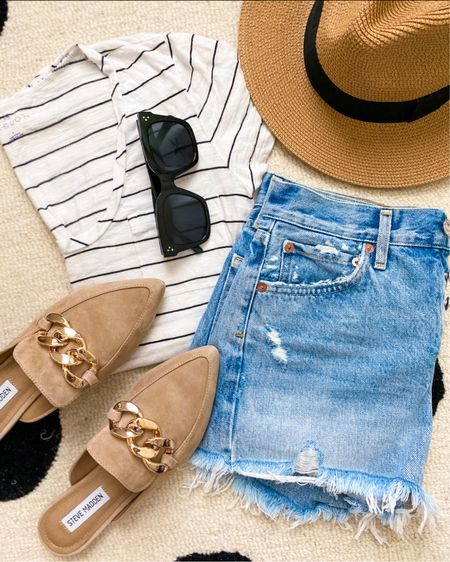 Casual outfit : mules and t shirt on sale!   T-shirt- true to size - I wear in size small   Mules- I sized up 1/2 size to an 8     Casual look , t-shirt , jean shorts, mules , flats , Steve Madden , Nordstrom , #nsale , Nordstrom anniversary sale , transition to fall outfits , casual style , over 30 , over 40 , amazon fashion, amazon finds , sunglasses , Fall shoes , suede shoes , women's shoes #LTKSeasonal   #LTKsalealert #LTKunder100