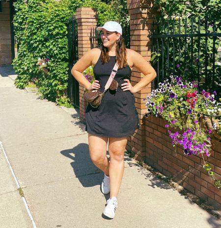 Saturday uniform! Adidas hat, adidas sneaks, target exercise dress (total dupe for more expensive ones!!) and my fav fav fav DHgate Louis dupe   #LTKunder50 #LTKtravel #LTKstyletip
