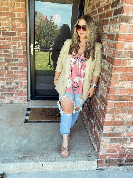 Blazer XL tts Shirt XL (runs large) Jeans size 14 tts Sandals  tts  #LTKstyletip #LTKcurves #LTKunder50