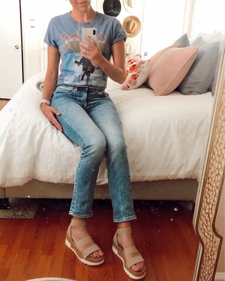 Steve Madden cork wedge on sale 30% off (just $55) 💕 Runs TTS but a tad narrow. VERY light and comfy! Style with high waisted jeans and a band tee 🎸 http://liketk.it/2MUbT @liketoknow.it #liketkit #LTKshoecrush #LTKsalealert #LTKstyletip Nordstrom, spring sandals, wedge sandals, spring outfit, mom jeans, casual, tees