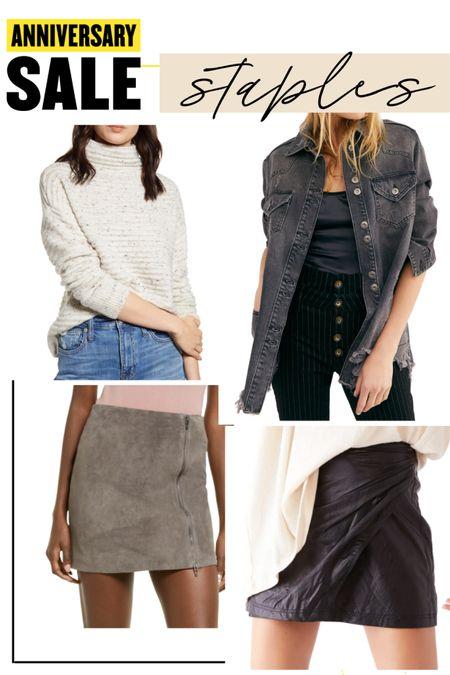 Suede skirt blank nyc  Black leather skirt  Black free people denim jacket  Turtleneck madewell Sweater #liketkit @liketoknow.it http://liketk.it/3jRMN #LTKunder100 #LTKsalealert #LTKstyletip