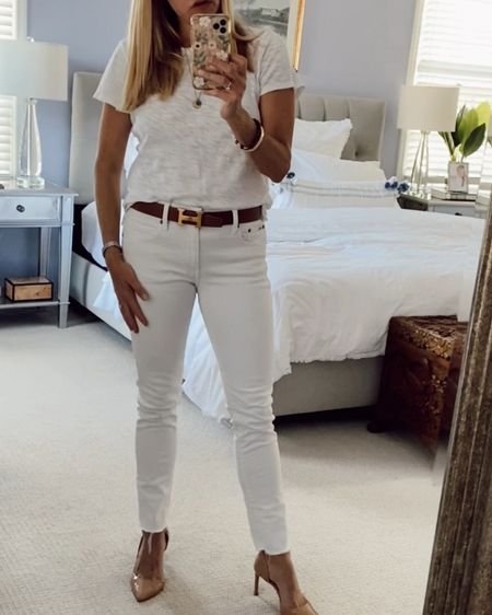 All white look. White t-shirt, white jeans and nude shoes. Summer outfit. Summer look. #LTKunder100 #LTKstyletip http://liketk.it/3h9uJ #liketkit @liketoknow.it Shop my daily looks by following me on the LIKEtoKNOW.it shopping app.