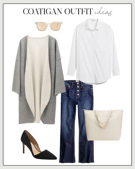 Gray Coatigan, Long Coatigan, Long Cardigan Coat, Fall Workwear, Fall Work Wear, Fall Work Outfit, Coatigan Outfit, Bootcut Jeans, Gray Coat  One of my favorite coatigans on the market styled with J. Crew's classic boot cut jeans, suede pumps, a zipper tote for the office, and chic sunglasses. For more coatigan outfit ideas, visit my LTK profile or head to natalieyerger.com!