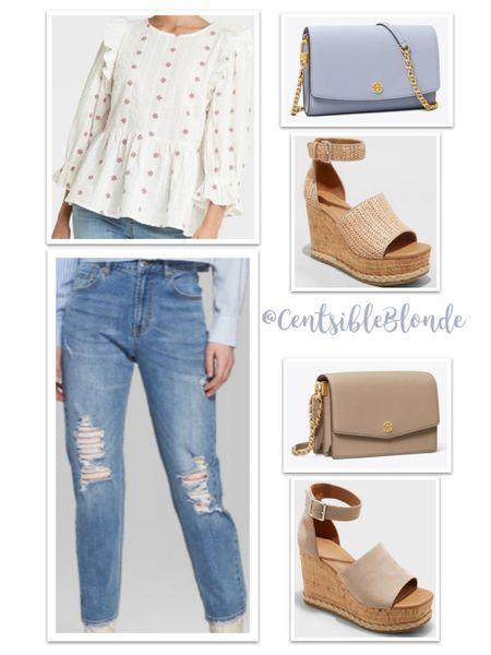 Spring outfit idea Mom jeans with Cork wedges    http://liketk.it/3gzp2 #liketkit @liketoknow.it #LTKshoecrush #LTKunder50 #LTKitbag