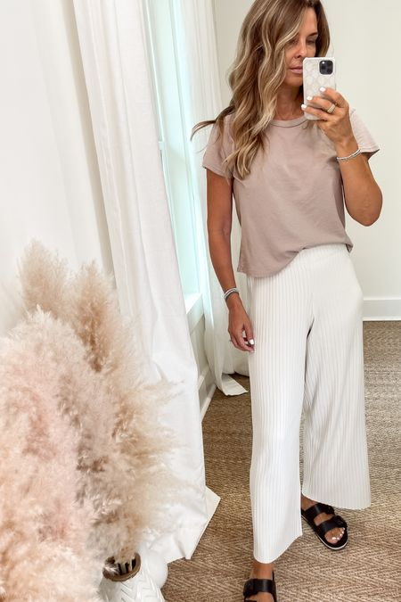 Ribbed wide legs pants that are worth the splurge! Easy to dress up or down paired with a simple cropped tee.  Sz S   #LTKstyletip #LTKunder50 #LTKworkwear