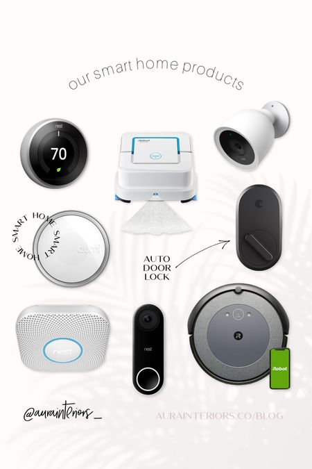 Our EXACT models pictured! Alllll the info you'll ever need below 🤗 #smarthome #homeautomation   • Be more efficient + save $$$ with a smart thermostat. You can set schedules [like having it automatically lower the temp at bedtime] + change your home's temp remotely from the app. No more McAllister moments of feeling like you forgot to do something after you've left for vacation.   • This little mop robot is no joke. One more thing off my to-do list ✅  • We have FOUR of the Nest Outdoor IQ security cams. So yeah. We like them a lot. They cover every door + window + we get real-time video alerts when people are detected.  • Our smart night light is set to turn on automatically at 7pm + off at 7am. We have it set on a super dim amber color, but you can choose any brightness/color from the app!   • This is my favorite smart home item we own. We have it set to auto-lock behind us when we leave the house + auto-unlock when we get home. No more standing outside your door, balancing the million things you're holding on your knee + digging for your keys. You can also check your door's lock status on the app at anytime [it will inform you if your door is ajar/closed, locked/unlocked] + you can lock/unlock it remotely. You can also give guests permanent or temporary virtual keys.   • I couldn't have more peace of mind with a smoke detector. Standard ones don't send you a phone notification if they detect smoke or CO2. This one does. If you have a pup at home, this could be life-saving. One of my favorite features is how it glows green when you turn off all the lights for bed, letting you know it's good to protect you all night. It also glows white when it detects movement during the night, which makes a great hall nightlight for us!   • This doorbell is our newest addition to our Nest fam. Not installed yet — but I'll update you when it is! Sooo excited!   • My husband + I always say this is THE. BEST. thing we've ever bought for the house. If you have a robot vacuum, you kno