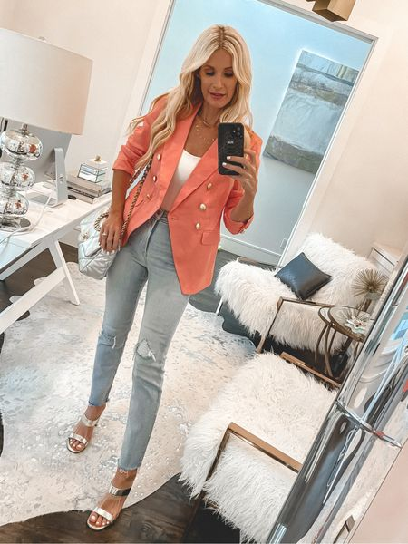 Love this gorgeous coral blazer to add a pop of color to your wardrobe. It runs tts I'm wearing an XS   #LTKstyletip #LTKunder100 #LTKunder50