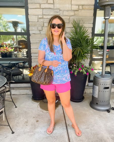 Loving this bright summer look! Top and shorts fit TTS. My exact shade of shorts is sold out, but I linked a super similar color in the same cut with stretch! Also, these are my favorite clear sandals for summer and they're just $15. Size up .5 size.  Lilly Pulitzer // affordable // midsize // Target finds // lunch date // summer neons   #LTKshoecrush #LTKSeasonal #LTKunder100