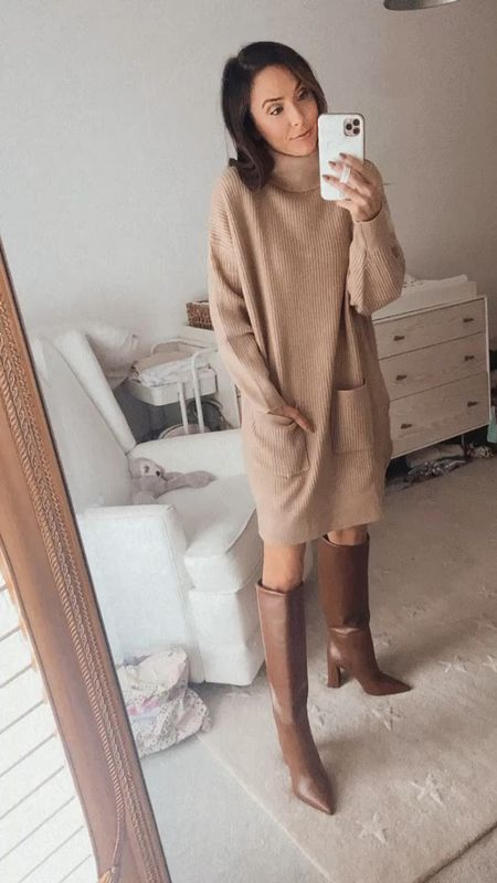 fall outfit, sweater dress, fall boots, brown boots, knee high boots  #LTKunder100