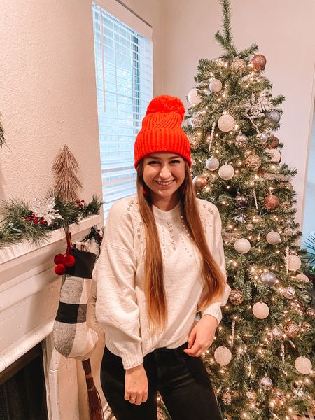 Christmas tree and mantle decor!  Christmas outfit is cozy and comfy!  http://liketk.it/34pnc #liketkit @liketoknow.it #StayHomeWithLTK #LTKstyletip #LTKunder50