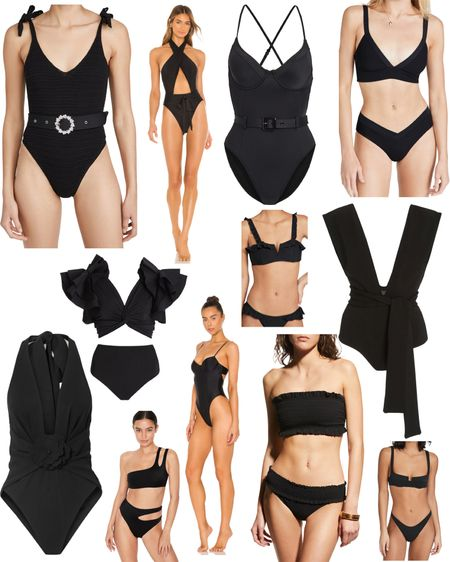 My favorite (anything but basic) black swimsuits. 🖤🖤🖤  http://liketk.it/3joI2 #liketkit @liketoknow.it #LTKswim Shop your screenshot of this pic with the LIKEtoKNOW.it shopping app  Bikini, one-piece, swimsuits, halters, black, ruffles