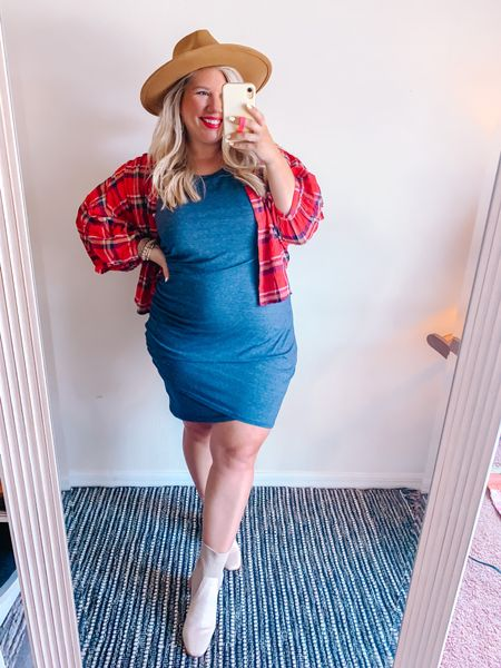Ready for Fall 🍁   XL in the dress. S/M in the flannel.  Boots are TTS.     #LTKbump #LTKcurves #LTKshoecrush
