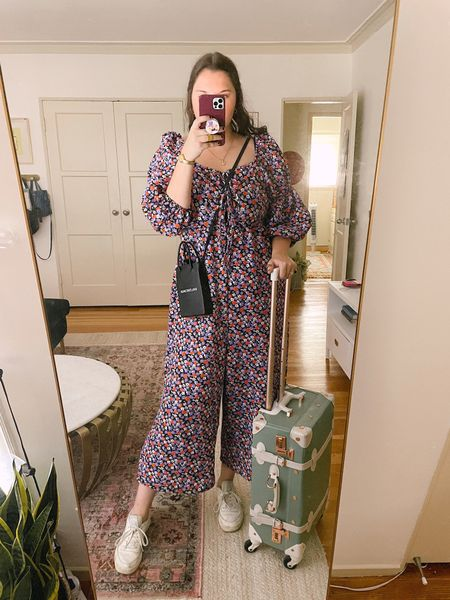 Just purchased: ASOS DESIGN double puff sleeve tie front jumpsuit in purple floral, on sale now, under $25, comfy clothes, spring / summer, fall / winter, casual outfit, travel, weekend attire, mint suitcase from Amazon, Amazon find, vintage inspired, Reebok comfy sneakers, shoes, urban outfitters, balenciaga crossbody bag, gold jewelry, budget friendly, on sale now, under $25, vintage luggage set, claw clip, carry on bag  #LTKsalealert #LTKunder50 #LTKunder100