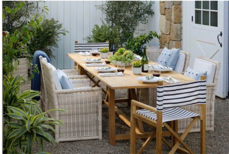 Alfresco dining for the coming summer. This chic outdoor dining set has a  chic relaxing coastal vibe and now everything is 20% off with code DIVEIN    #LTKsalealert #LTKhome