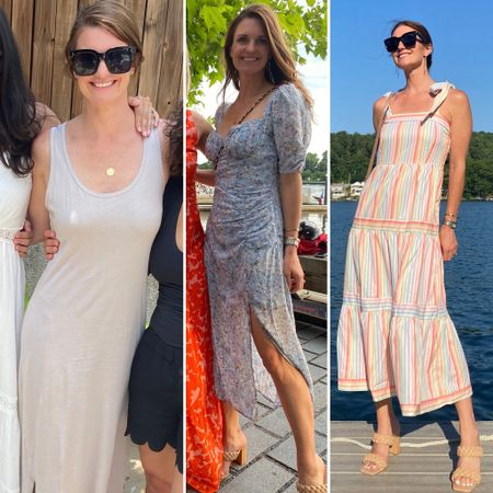 Three summer dresses, what I wore, recent real outfits, maxi dress, midi dress, summer party style, finding beauty mom http://liketk.it/3iPwB #liketkit @liketoknow.it #LTKwedding #LTKtravel