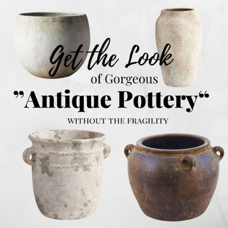 """Get the look of gorgeous look of """"Antique Pottery"""" without the fragility. These pots will add a layer of interest and beauty in any decor style — from French Country to Modern!   #LTKfamily #LTKstyletip"""