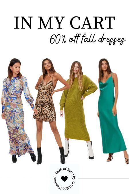 Flirty and cozy fall dresses I just purchased on sale through the weekend! Slip dresses, sweater dresses, paisley print, leopard print  #LTKsalealert #LTKunder50 #LTKSeasonal