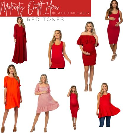 Cute Maternity styles in red tones! These maternity styles are comfy and great quality. Pink Blush has a discount code at the top of their website that changes daily. Today it is code SWEETDEAL for 30% off dresses. 25% off bottoms, and 20% off tops.  I wear a size medium unless otherwise noted!  #LTKbump #LTKsalealert #LTKbaby