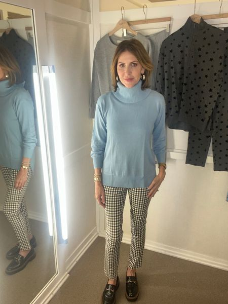 Sharing this dun fall look from @loft that is on major sale today.   Plaid skinny pants, plaid pants, light blue turtleneck sweater, fall outfit, loft fall outfit, loft sale  #LTKstyletip #LTKsalealert #LTKunder50