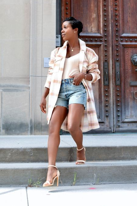 #ad The perfect Summer to Fall transitional look. Loving this blushed plaid oversize shirt jacket from Nordstrom.   #LTKunder100 #LTKstyletip