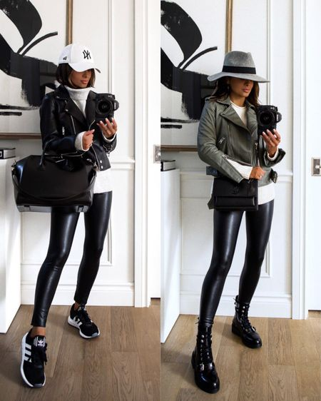 Casual fall outfit with Commando faux leather leggings  #LTKunder100 #LTKstyletip #LTKshoecrush
