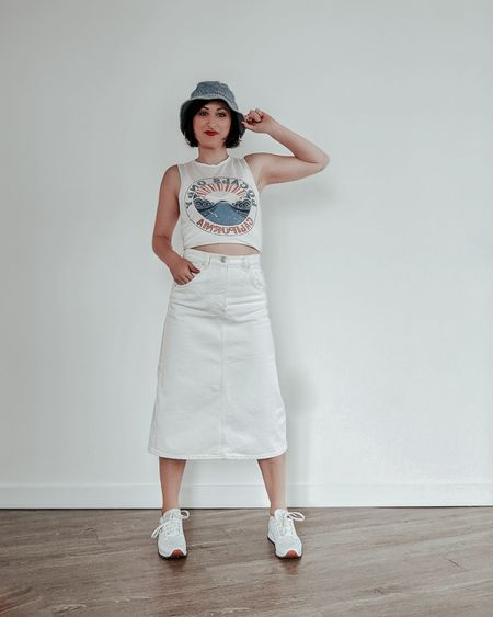 Styling a white denim midi skirt for spring.   #denimmidiskirt #denimskirt #midiskirt #liketkit #springfashion #springstyle #summerlooks   @liketoknow.it http://liketk.it/3cV8H