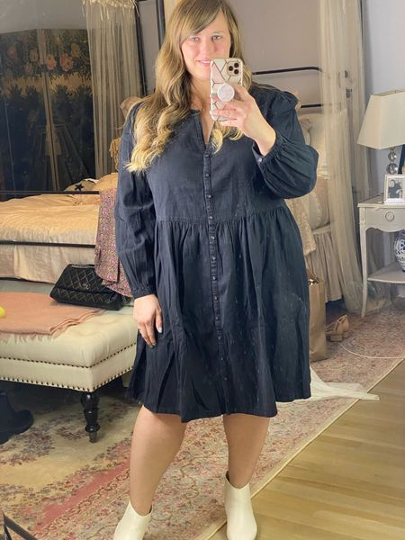 The cutest denim dress! Looks way more expensive. Size down one unless you are bigger chested and then tts.