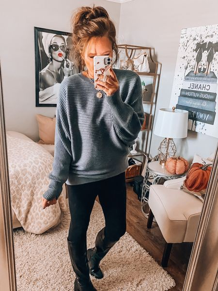 Amazon Batwing sweater in indigo, Loft ponte leggings and tall black boots from Target.   #ltkfall #founditonamazon fall outfits, fall, sweaters, leggings, boots, weekend outfit, casual outfit, fashion over 40  #LTKstyletip #LTKunder50 #LTKsalealert
