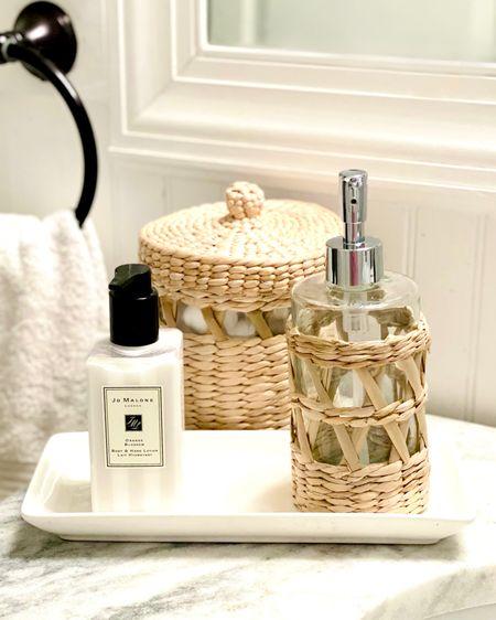 Love these rattan bathroom accessories!    http://liketk.it/3jAte #liketkit @liketoknow.it #LTKhome #LTKunder50