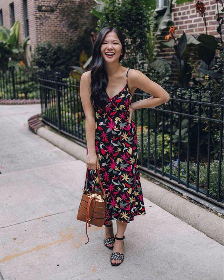 Walmart fashion, Walmart finds, wedding guest dress, black floral dress, black slip dress, brown bucket bag, black strappy heels, black sandals.   #LTKstyletip #LTKunder50 #LTKwedding