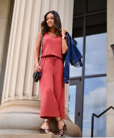 Amazon fashion summer outfit idea! Bright jumpsuit for a warm summer day! It's so comfortable, fits great and even looks good on my petite frame. Annnnd it has pockets! Wearing size x-small in the Daily Ritual Women's Supersoft Terry Relaxed-Fit Sleeveless Wide-Leg Jumpsuit and I'd say it runs a little large!  #LTKstyletip #LTKunder50 #LTKunder100