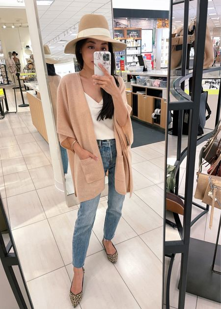 •lightweight cashmere wrap. Comes in 6 colors, under $100 during NSale •Camel colored floppy wool felt panama hat with adjustable drawstring inside •Levi's jeans size 24 (hems cut shorter) •White Banana Republic tanks size xxs, perfect looser cut layering piece! •Rothy's flats size 5.5   http://liketk.it/3jHeX #liketkit @liketoknow.it   #petite #NSale   #LTKunder100 #LTKsalealert