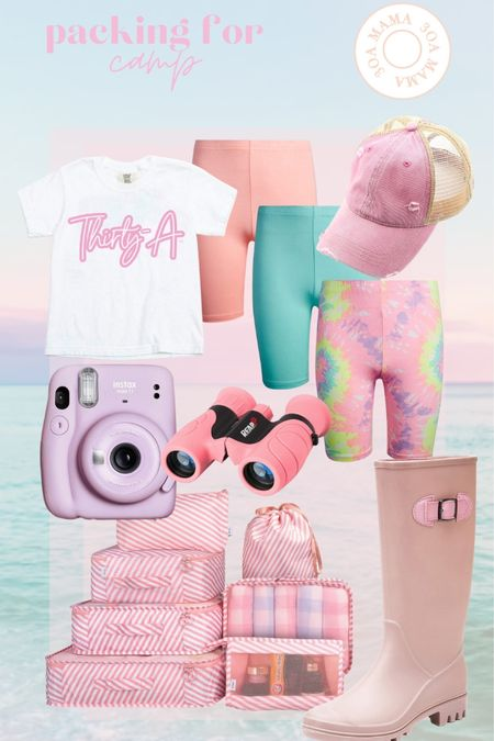 A few odds and ends we need to pack for camp. Plenty of pink, but make it outdoorsy. 💕  30A Mama T-shirt  bike shorts for girls Instacart camera pink binoculars  pink packing cubes  pink rain boots   http://liketk.it/3jLnl #liketkit #LTKunder50 #LTKtravel @liketoknow.it #LTKkids #amazonprime #amazonfind #amazonkidd