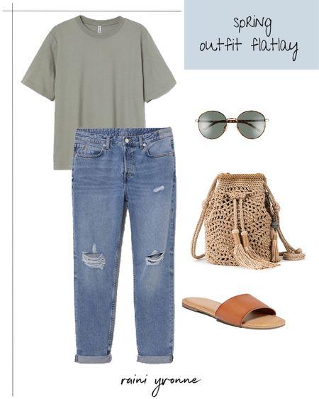 Spring Outfit  http://liketk.it/3c967 @liketoknow.it #liketkit   #LTKSpringSale #LTKstyletip #LTKsalealert  Spring outfit, Spring dress, summer fashion, casual, basic tee, boyfriend jeans, comfy outfit, slide ones, sunglasses, sale